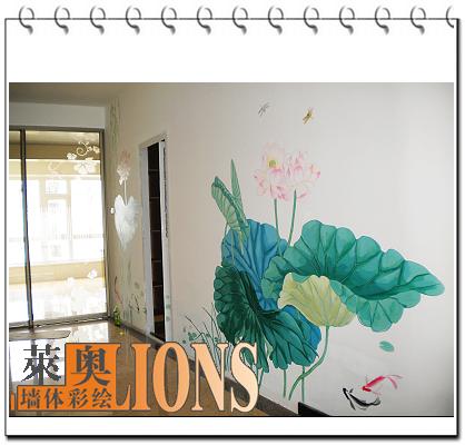 哈尔滨墙体彩绘 哈尔滨手绘墙 哈尔滨墙面彩绘 手绘荷花 走廊 莱奥