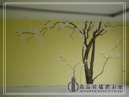 哈尔滨手绘墙公司 尚品居作品—手绘玉兰 尚品居墙绘—&