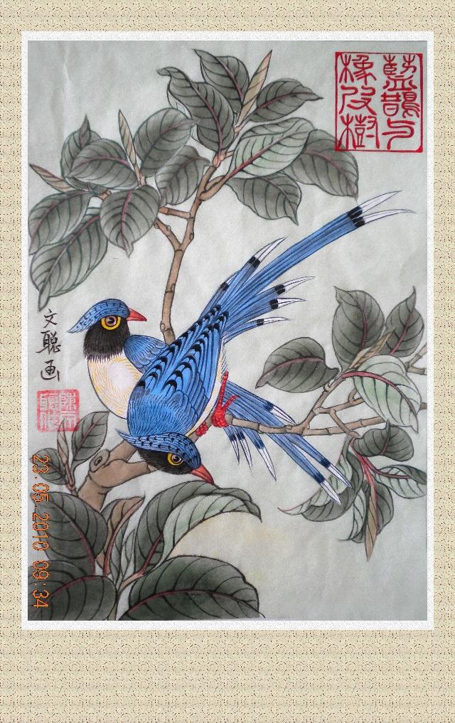 蓝鹊与橡皮树;画虽然有点稚嫩,但对学生来说学会构图的方法,描线的