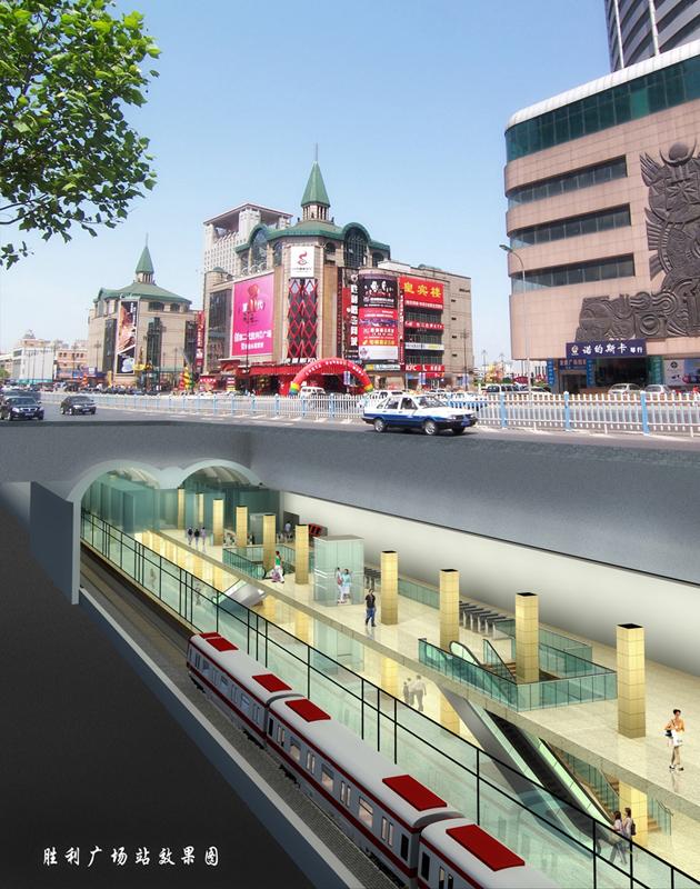 地铁2号线车站岛一侧十字换乘,地下一层为公共站厅层及2号线站台层(侧