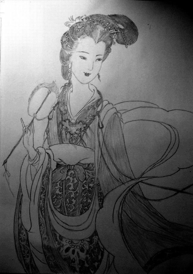 古典美女手绘铅笔画-古典浓妆美女手绘头像|古风绘画图片铅笔|手绘
