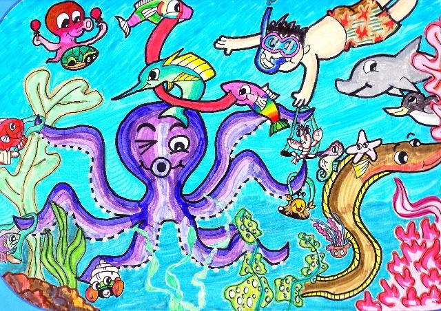 我的参赛绘画作品《海底乐园》