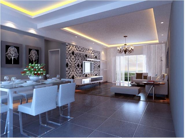 客厅采用仿古砖和木地板形成分区效果,欧式黑白墙纸和吊灯的搭配使