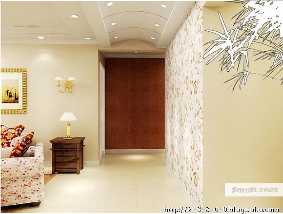 本案采用简欧式风格的装饰特点,呼应客厅影视墙简约而时尚传统中创新