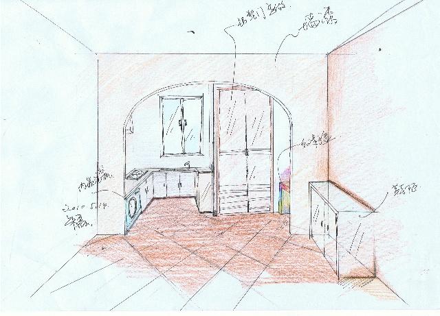 2010东方太阳城书房门厅手绘图部分表现