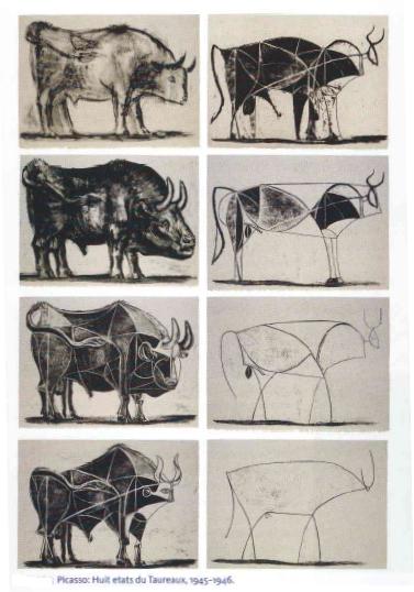 毕加索画牛动画,毕加索牛的演变视频,毕加索画的牛,毕加索 高清图片
