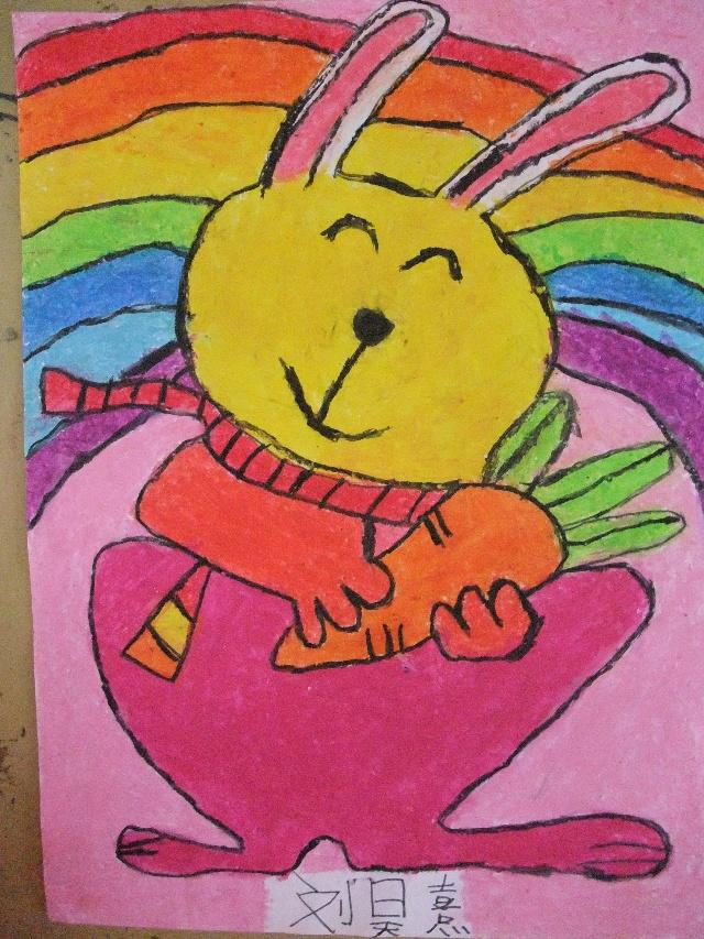 2010年8月9日上午小班作品——《卡通简笔画—兔子》