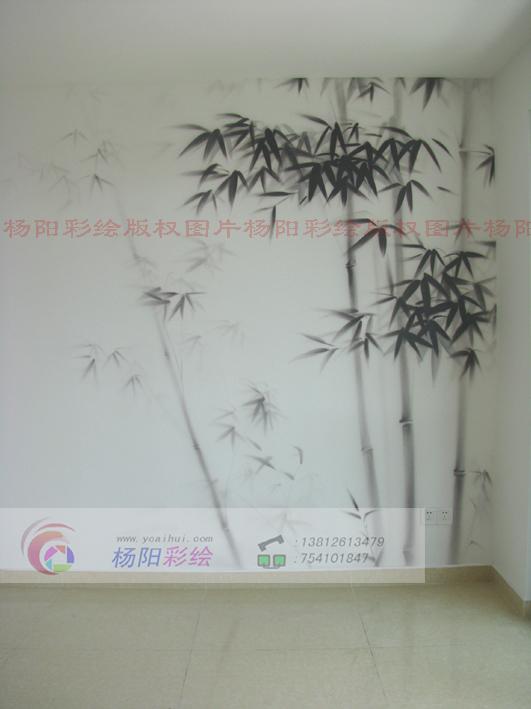 现代简约风格中,运用手绘竹子的装饰不再是一成不变的古风古韵,更多的
