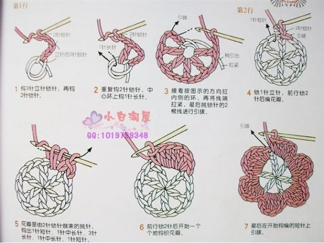 装饰小花朵的钩法(一)