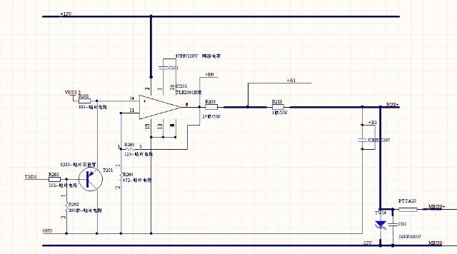 对于 上图二,TLE2301运放构成一个电压放大电路 放大倍数为 1+R205/R204 ,输出电压B0为 3.3(1+R205/R204 ),通过TXD2的调制 可以输出 0-BO的电压范围,此电路设计为 11.7V的最大幅度,此幅度会随着负载的增大而降低,因为有电流取样电路串在电路中,此电压幅度也是 MBUS 有规定的为 12V,空号电压(0v)=传号电压跌落12V。