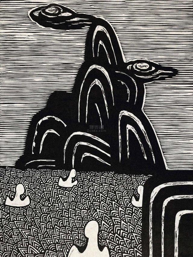 康宁黑白木刻版画