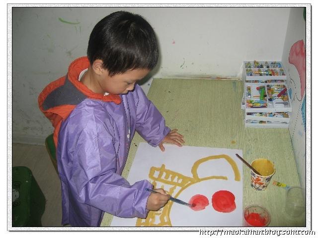 水粉画水果篮-圆圆的水果篮中放.-睿宝宝在画画
