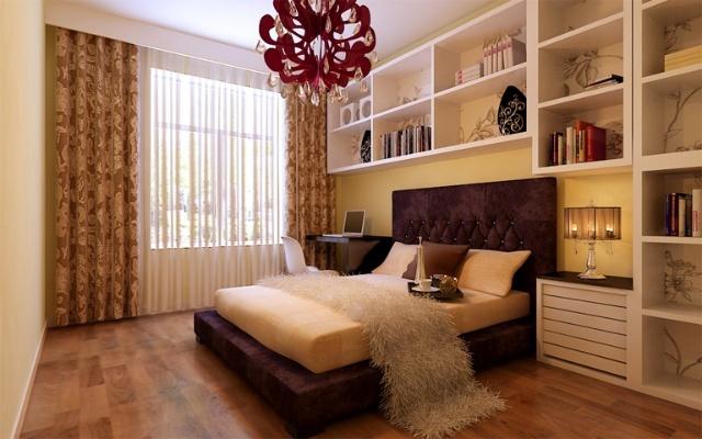 卧室装修设计效果图次卧米黄的墙漆,营造出卧室的温暖